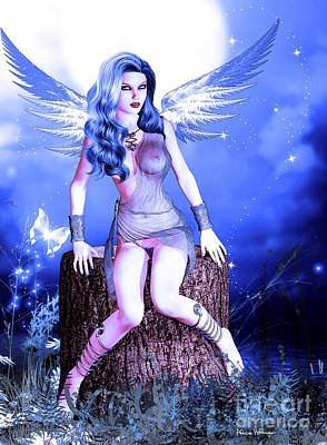 Female Digital Art - Blue Fairy by Alicia Hollinger
