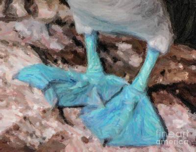 Boobies Digital Art - Blue Feet by Liz Leyden