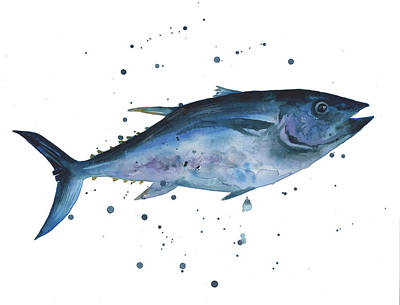 Animals Painting - Blue Flash Tuna by Alison Fennell