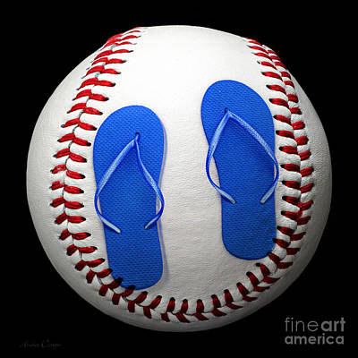 Blue Flip Flops Baseball Square Print by Andee Design