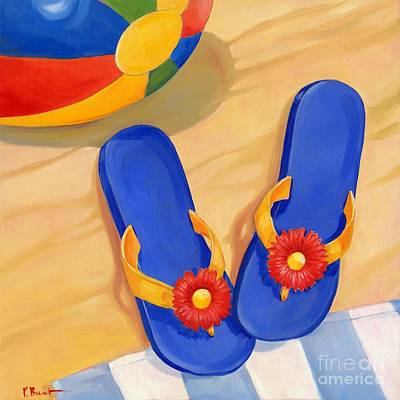 Sandals Painting - Blue Flip Flops by Paul Brent