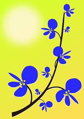 Blue Flowers Print by Anastasiya Malakhova