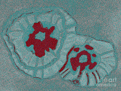 Blue Flowers Print by Christine Perry