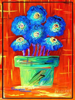 Blue Flowers On Orange Print by Eloise Schneider