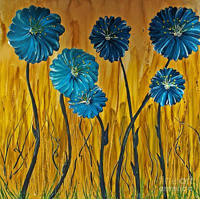 Blue Flowers Print by Ryan Burton