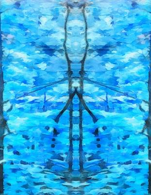 Aliens Mixed Media - Blue Forest Creature by Dan Sproul