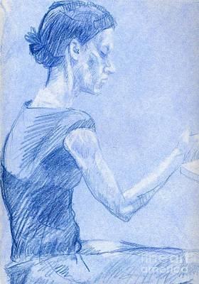 Whistler Drawing - Blue Girl by Whistler Kenworthy