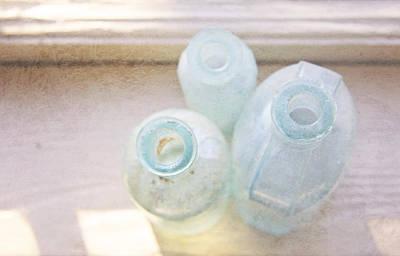 Still Life Photograph - Blue Glass Bottles by Brooke T Ryan