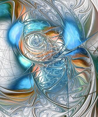 Shine Digital Art - Blue Glass Fish by Anastasiya Malakhova