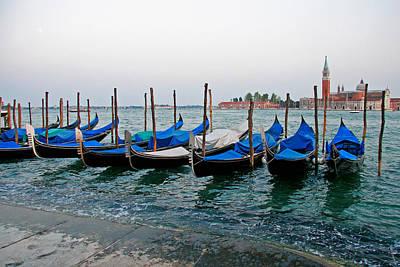 Gondola Photograph - Blue Gondolas by Peter Tellone