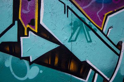 Urban Art Photograph - Blue Graffiti Arrow by Carol Leigh