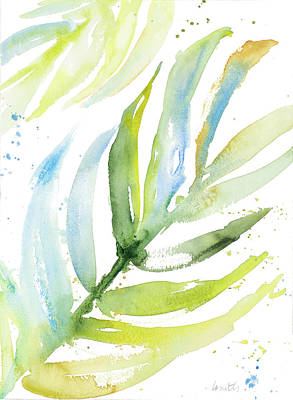 Palm Frond Painting - Blue Green Palm Fronds I by Lanie Loreth
