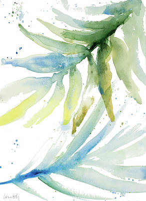 Palm Fronds Painting - Blue Green Palm Fronds II by Lanie Loreth