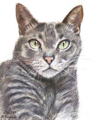Domestic Short Hair Cat Painting - Blue Grey Cat With Piercing Green Eyes by Kate Sumners
