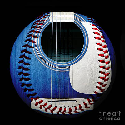 Blue Guitar Baseball Square Print by Andee Design