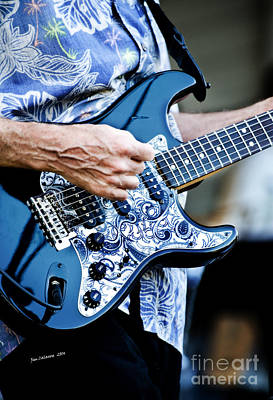 Session Musician Photograph - Blue Guitar by Jim  Calarese