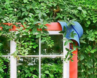 Blue Hat Red Window Print by Nikolyn McDonald
