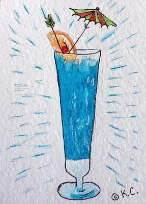Blue Hawaiian Cocktail Print by Kathy Marrs Chandler