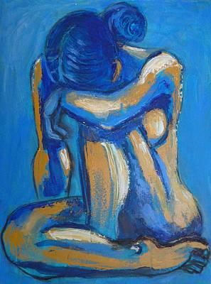 Head On Knees Painting - Blue Heart 2 - Female Nude by Carmen Tyrrell
