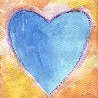 Abstract Hearts Painting - Blue Heart by Linda Woods