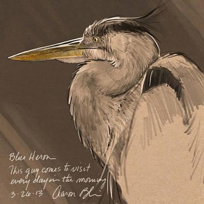 Blaise Digital Art - Blue Heron Sketch by Aaron Blaise