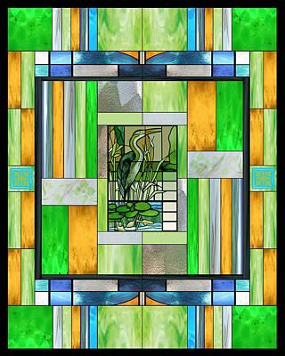 Heron Digital Art - Blue Heron Stained Glass by Ellen Henneke