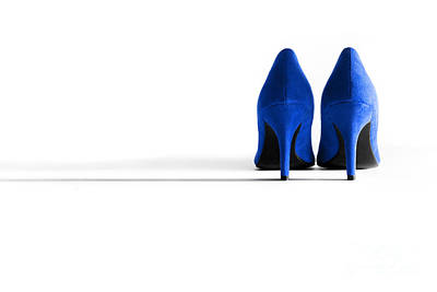 Blue High Heel Shoes Print by Natalie Kinnear