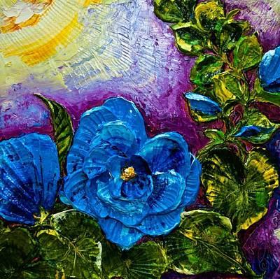 Blue Hollyhocks Print by Paris Wyatt Llanso