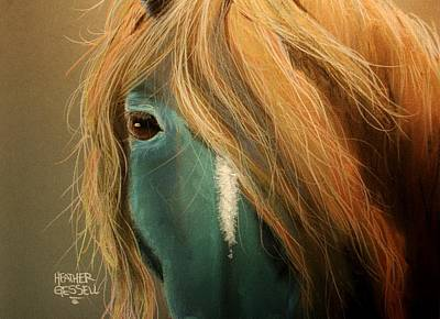 Pastel - Blue Horse by Heather Gessell