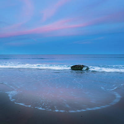 Atlantic Ocean Photograph - Blue Hour Beach Square by Bill Wakeley