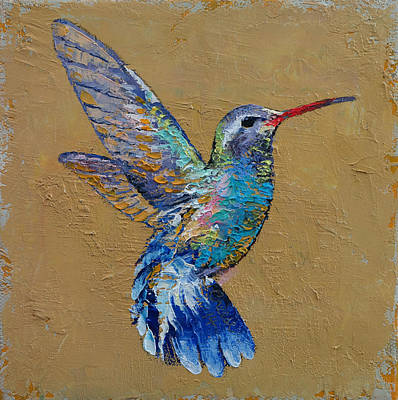 Hummingbird Painting - Turquoise Hummingbird by Michael Creese