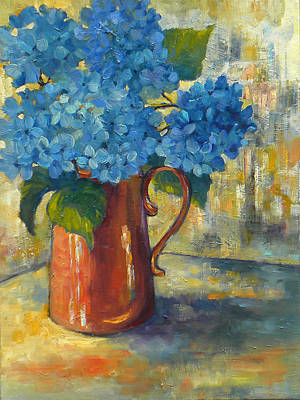 Pottery Painting - Blue Hydrangeas by Peggy Wilson