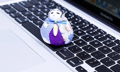 Doll Photograph - Blue Japanese Macbook by William Patrick