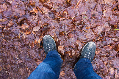 Forest Floor Photograph - Blue Jeans And Dirty Shoes And Forest Floor by Matthias Hauser