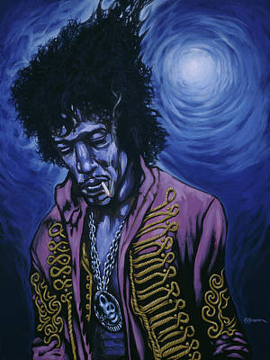 Fender Strat Painting - Blue Jimi by Gary Kroman