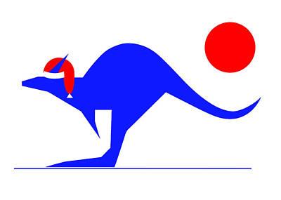Digital Art - Blue Kangaroo Wishes You A Merry Christmas  by Asbjorn Lonvig