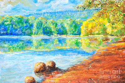 Sky Scape Painting - Blue Lake by Martin Capek