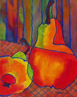 Interior Still Life Painting - Blue Line Pears by Blenda Studio