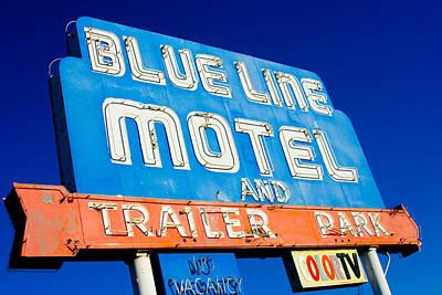 Architecture Photograph - Blue Line Trailer Park Motel by Matthew Bamberg