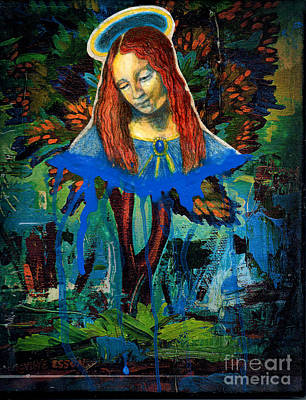 Spiritual Portrait Of Woman Painting - Blue Madonna In Tree by Genevieve Esson