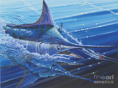 Blue Marlin Strike Off0053 Print by Carey Chen