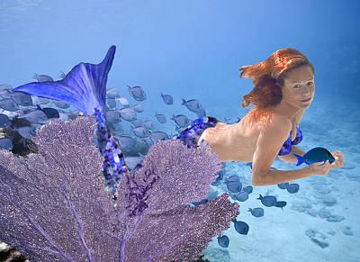 Angel Mermaids Ocean Photograph - Blue Mermaid by Paula Porterfield-Izzo