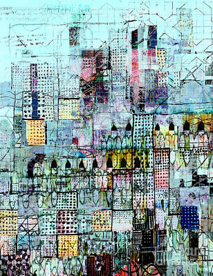 Tapestries - Textiles Digital Art - Blue Metropolis by Andy  Mercer