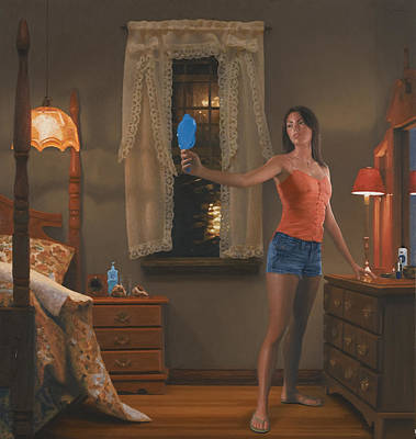 Night Lamp Painting - Blue Mirror by Charles Pompilius