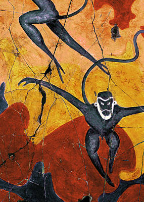 Ancient Painting - Blue Monkeys No. 8 - Study No. 2 by Steve Bogdanoff