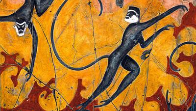 Wall Painting - Blue Monkeys No. 9 - Study No. 2 by Steve Bogdanoff