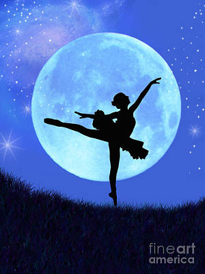 Moon Digital Art - Blue Moon Ballerina by Alixandra Mullins