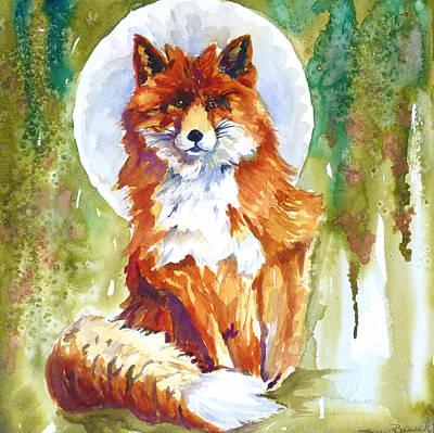 Fox Painting - Blue Moon Fox by P Maure Bausch