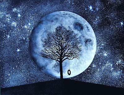 Contemplative Mixed Media - Blue Moon by Holly Smith
