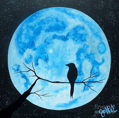 Moonlit Night Mixed Media - Blue Moon Nights by JoNeL Art